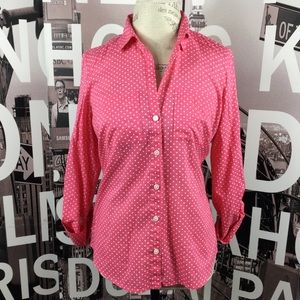 Ann Taylor pink polka dot button down